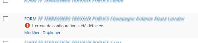 """1 erreur de configuration a été détectée"""""""